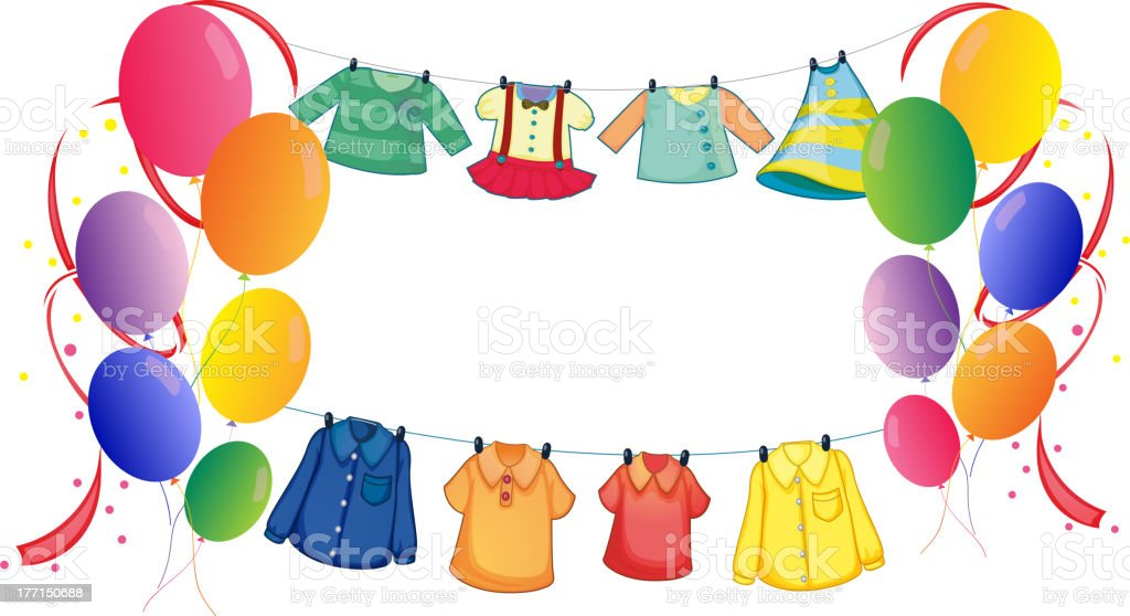Hanging clothes with colorful balloons royalty-free stock vector art