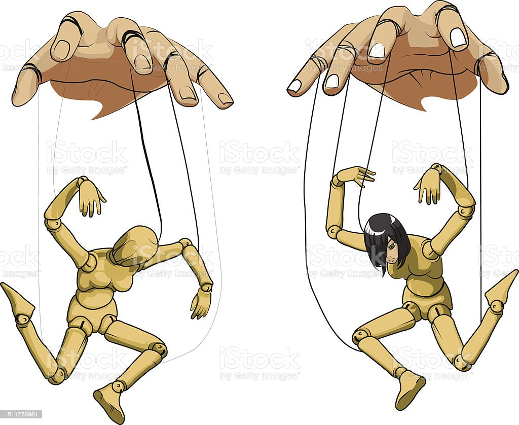 Hanging Doll / Marionette vector art illustration