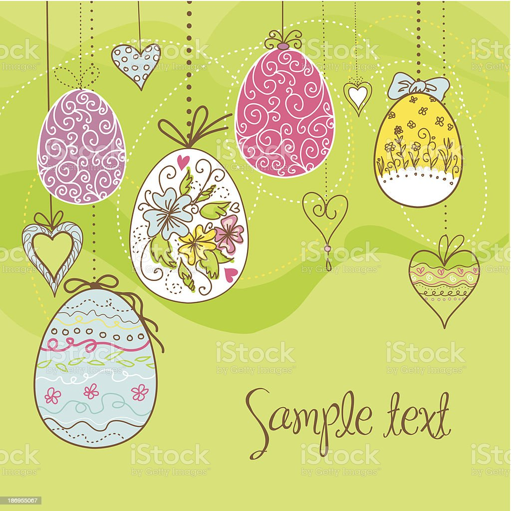 Hanging easter eggs and flowers royalty-free stock vector art