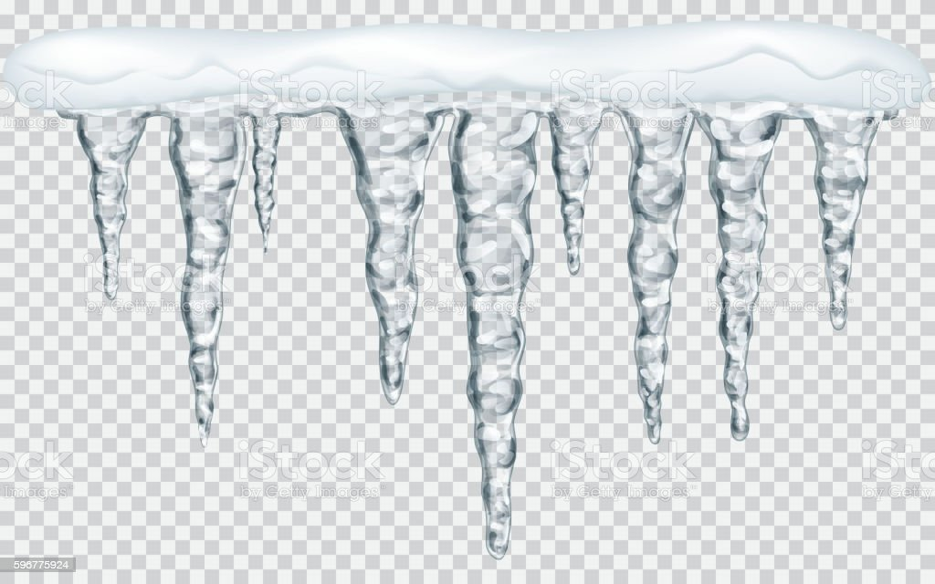 Hanging icicles with snow vector art illustration