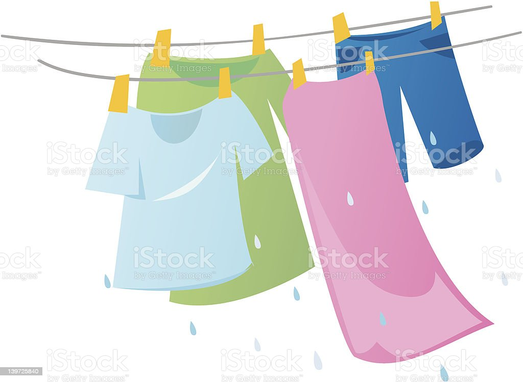 Hanging Laundry vector art illustration