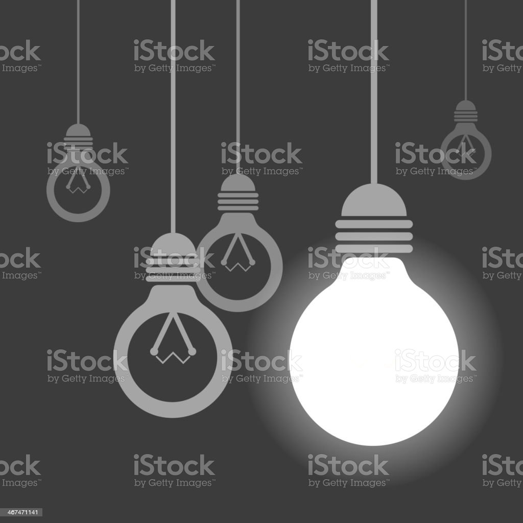 Hanging light bulbs, One of them is lighting royalty-free stock vector art