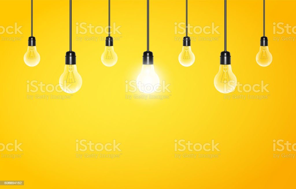 Hanging light bulbs with glowing one on a yellow background vector art illustration