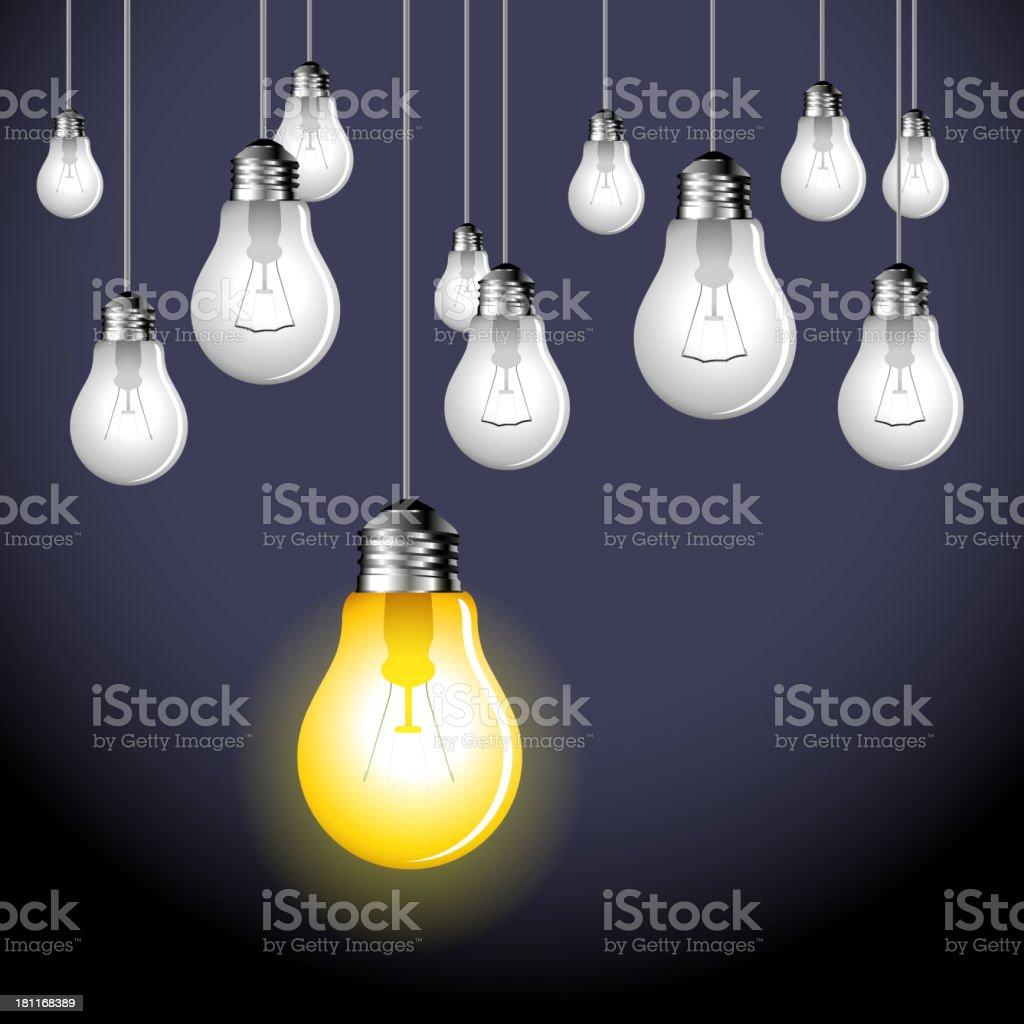 hanging lightbulbs vector art