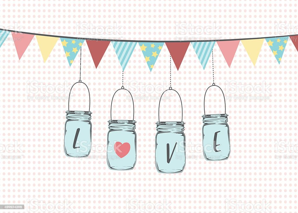 Hanging Mason Jars with bunting flags vector art illustration