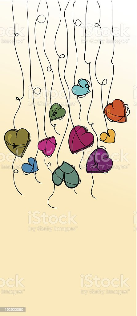 Hanging multicolored love hearts royalty-free stock vector art