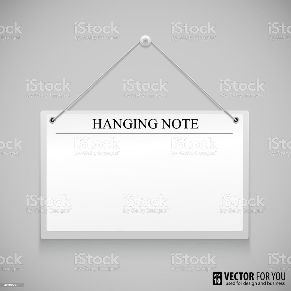 Hanging note board royalty-free stock vector art