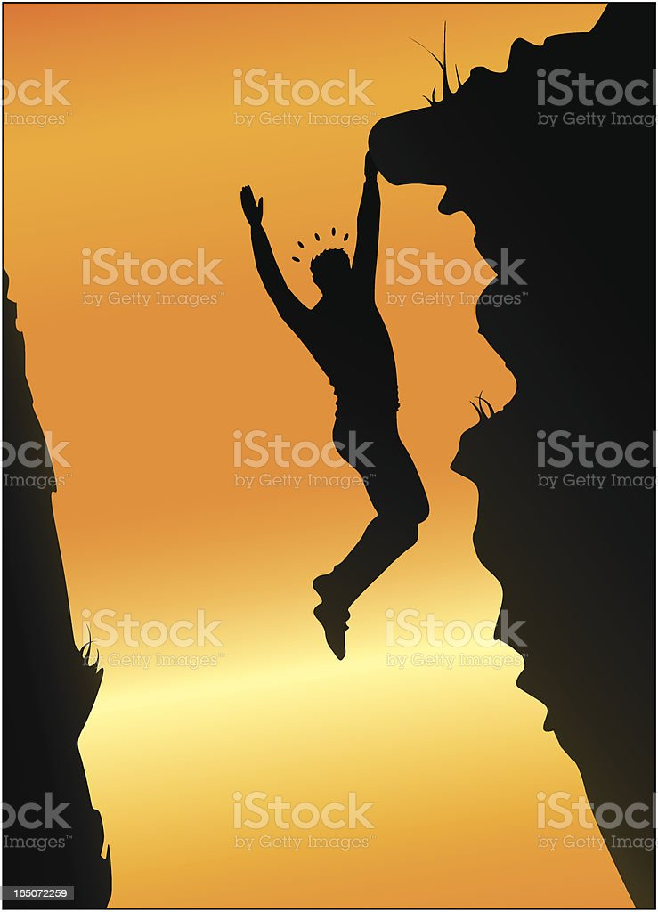 Hanging on the edge royalty-free stock vector art