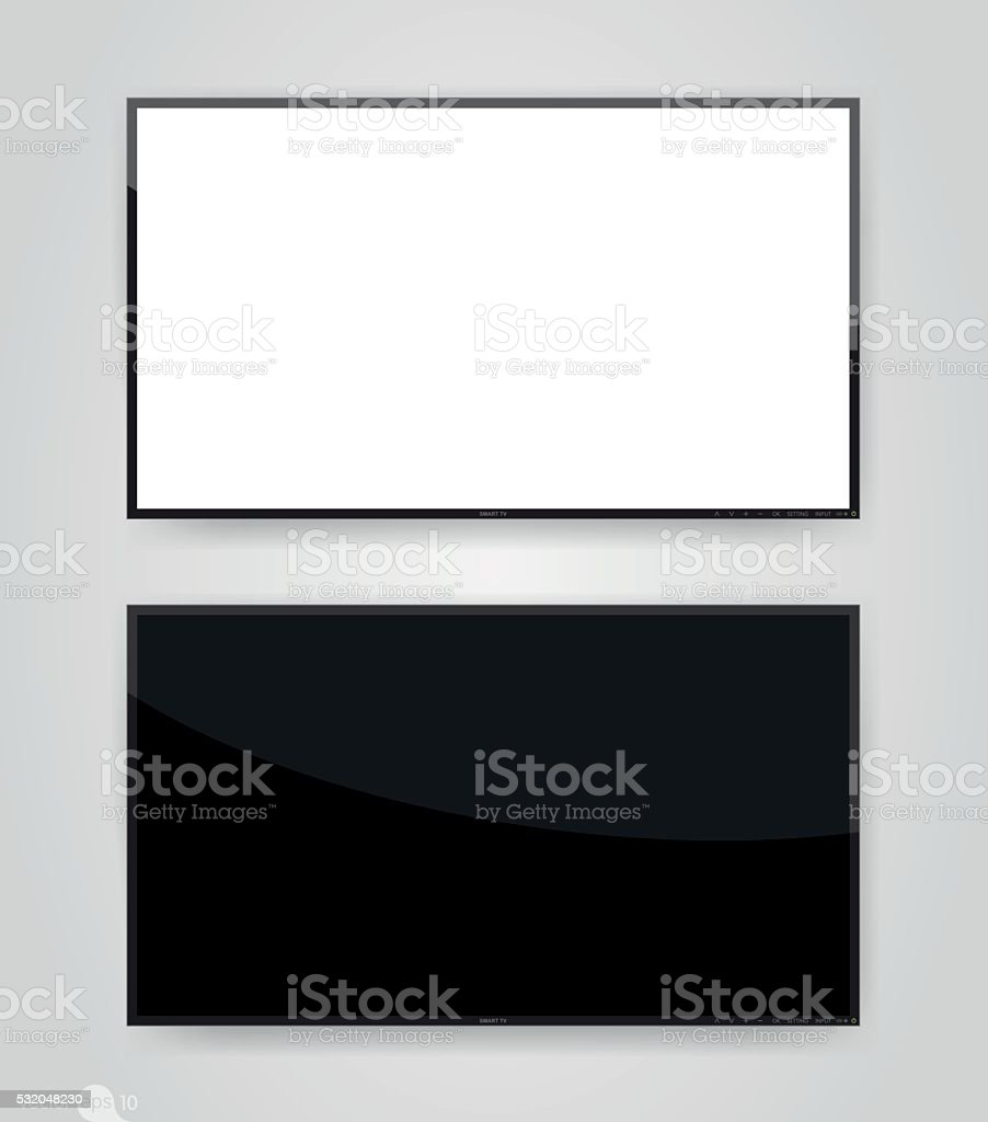 TV hanging on the wall vector art illustration