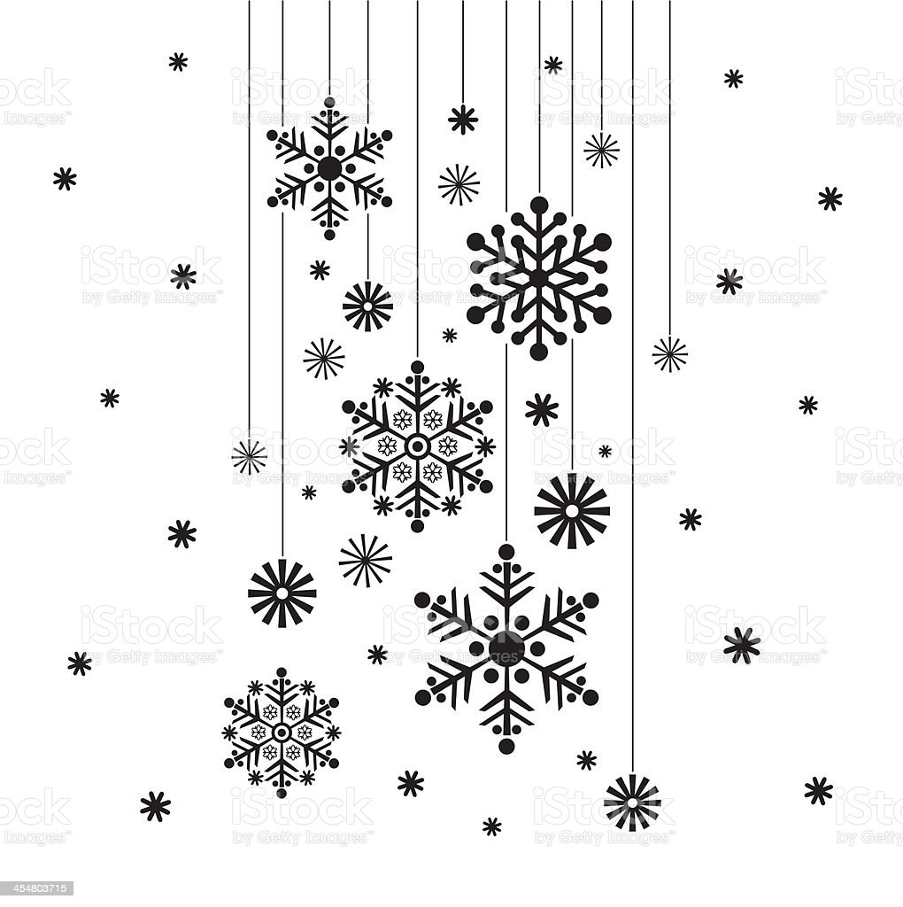 Hanging Snowflake in Silhouette vector art illustration