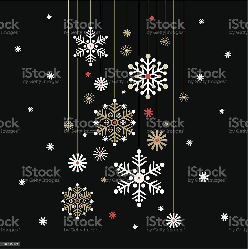 Hanging Snowflake on Black vector art illustration