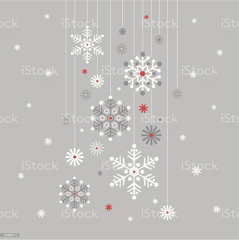 Hanging Snowflake on Silver vector art illustration