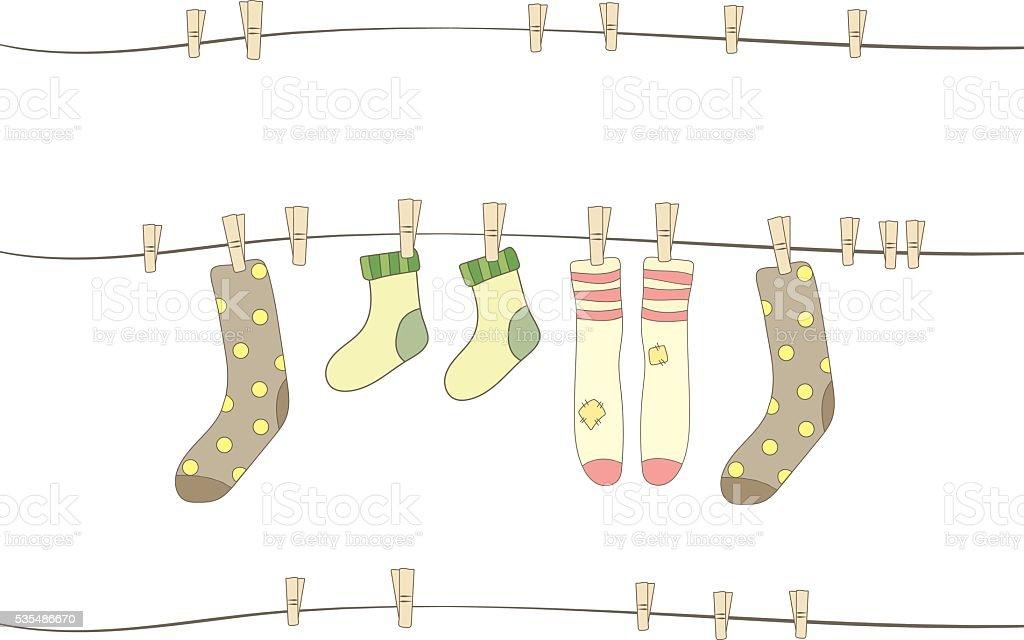 Hanging socks. vector art illustration