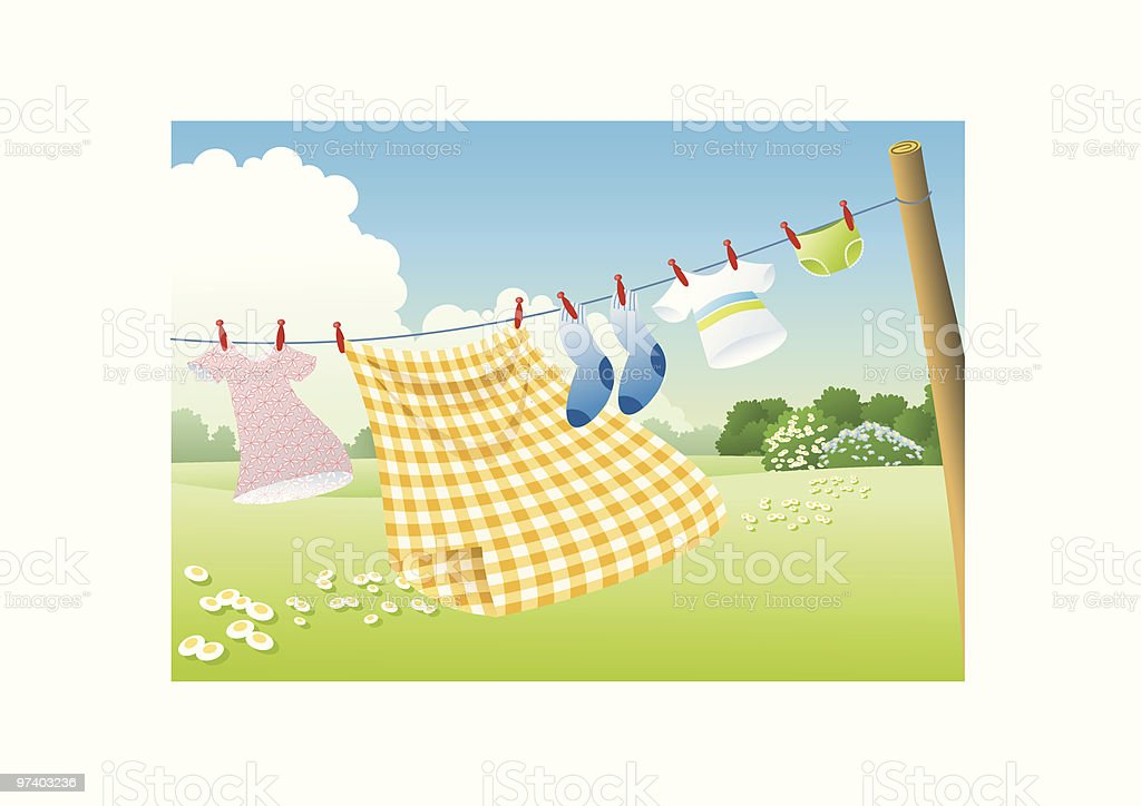 Hanging to dry royalty-free stock vector art