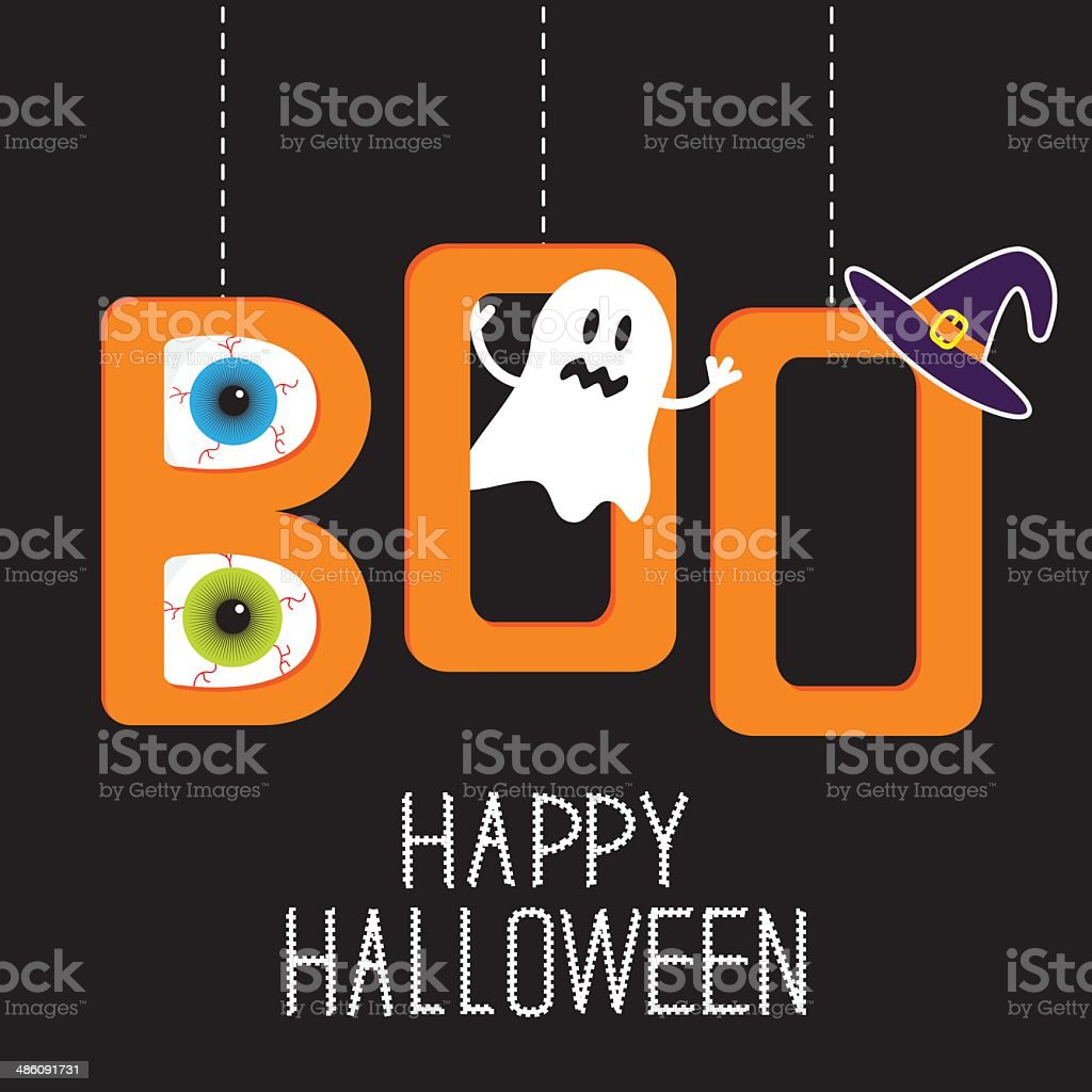 Hanging word BOO with ghost, eyeballs,  witch hat . Halloween vector art illustration