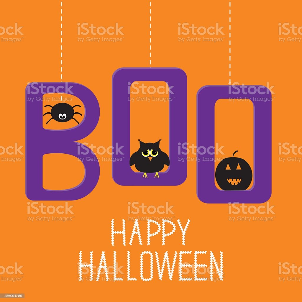 Hanging word BOO with spider, owl and pumpkin. Halloween vector art illustration