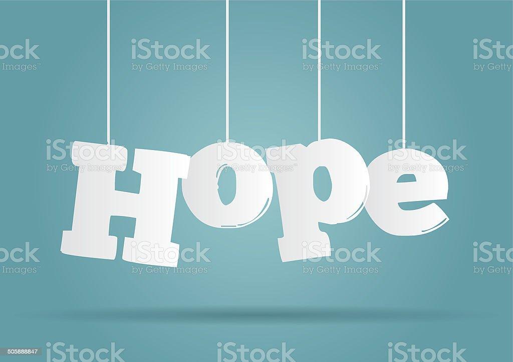 Hanging word Hope vector art illustration