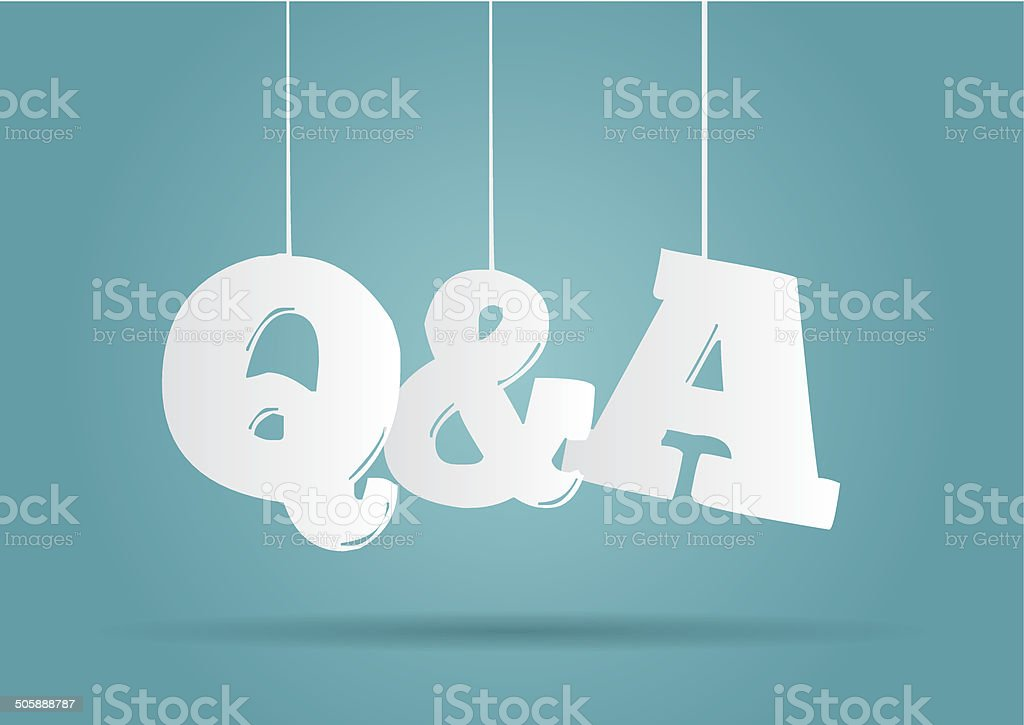 Hanging word Q&A vector art illustration