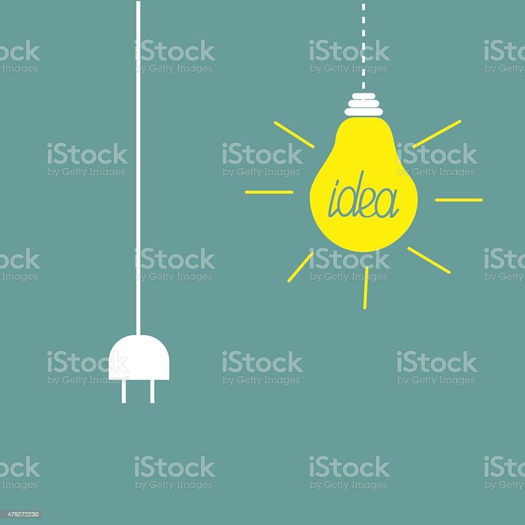 Hanging yellow light bulb and cord plug. Idea concept. Flat vector art illustration