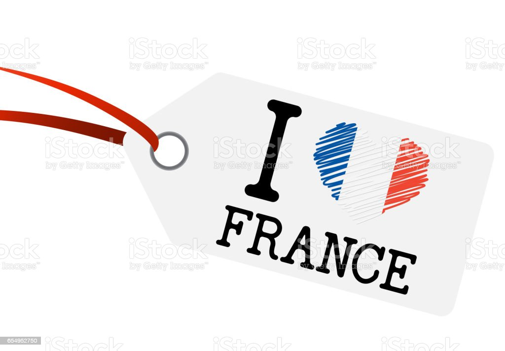 hangtag with text I LOVE FRANCE vector art illustration