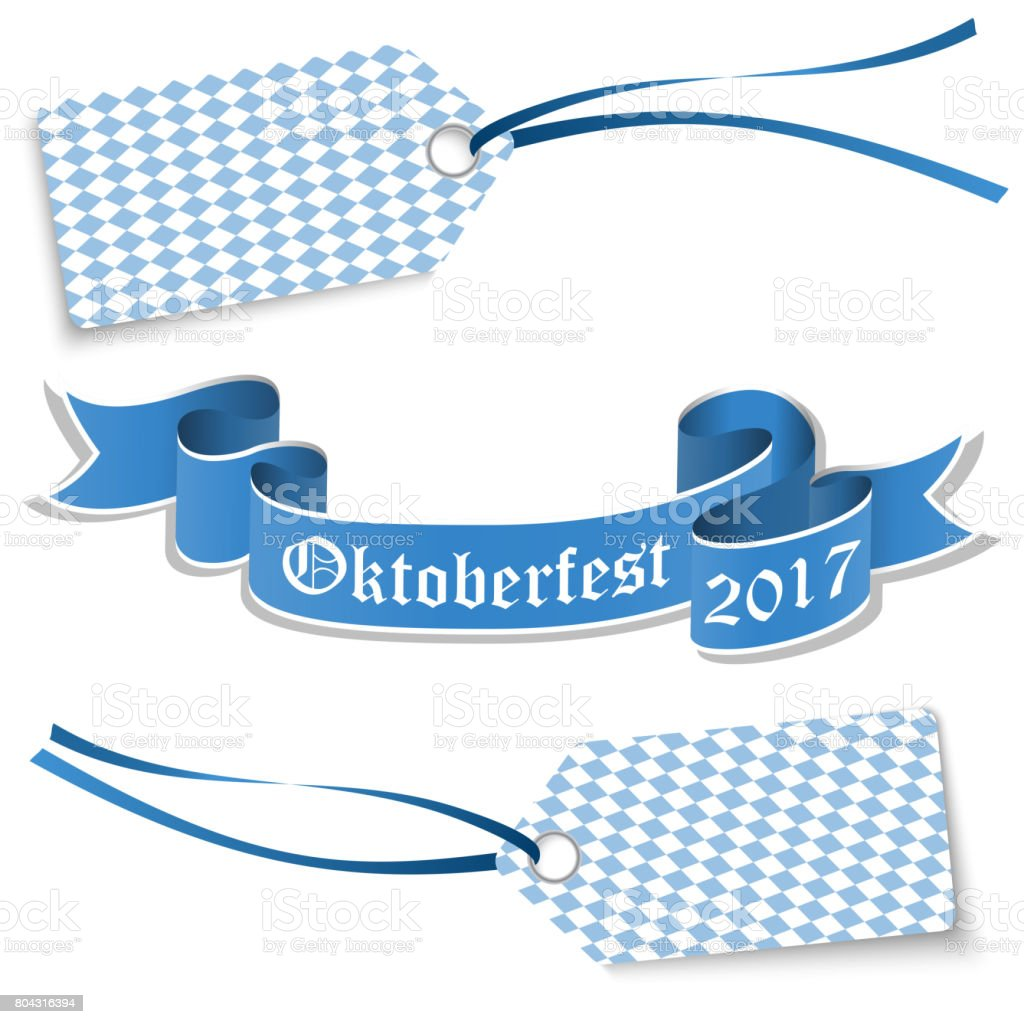 hangtags and banner for Oktoberfest 2017 vector art illustration