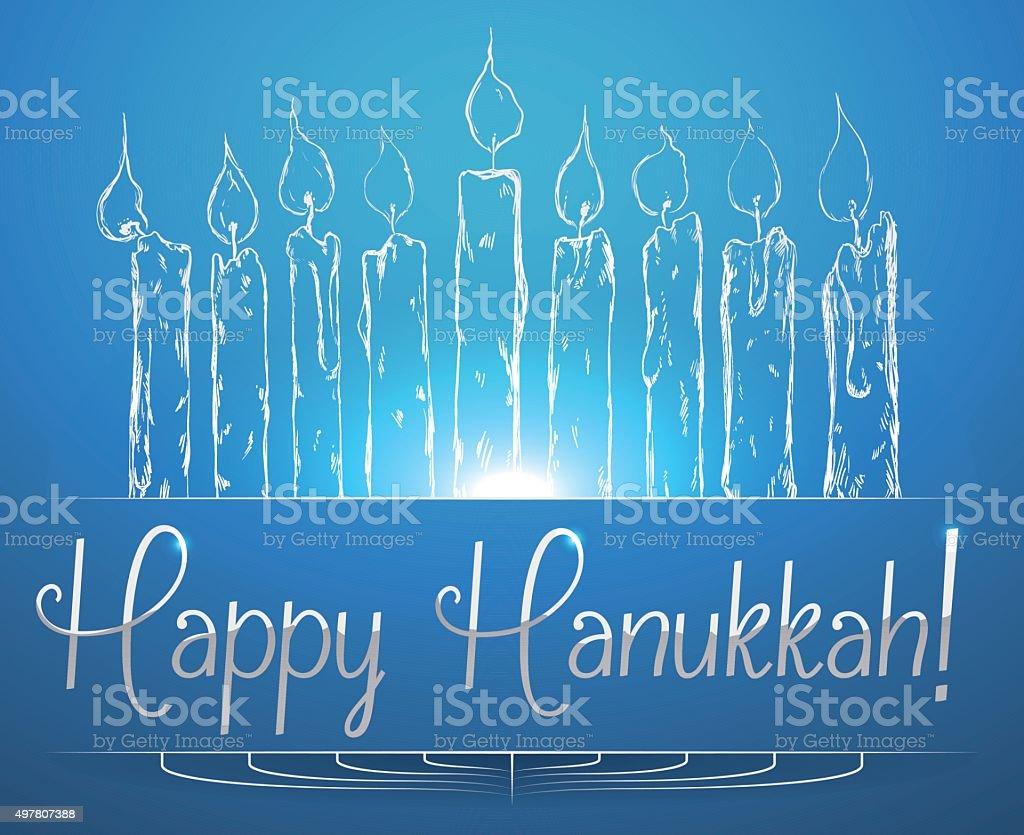 Hannuka Candles Shining on Blue Background. vector art illustration