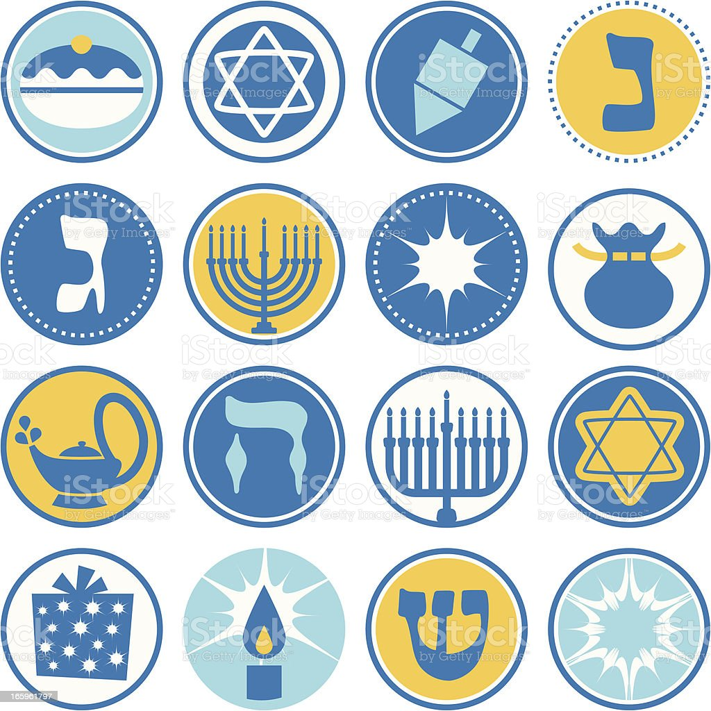 Hannukah - Circle Icons / Seals royalty-free stock vector art