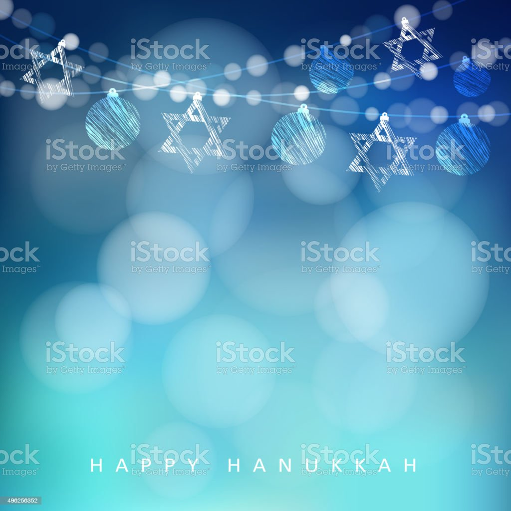 Hannukah greeting card, garland of lights and jewish stars, vector vector art illustration