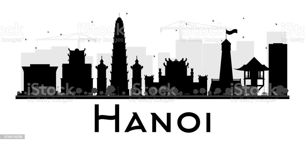 Hanoi City skyline black and white silhouette. vector art illustration