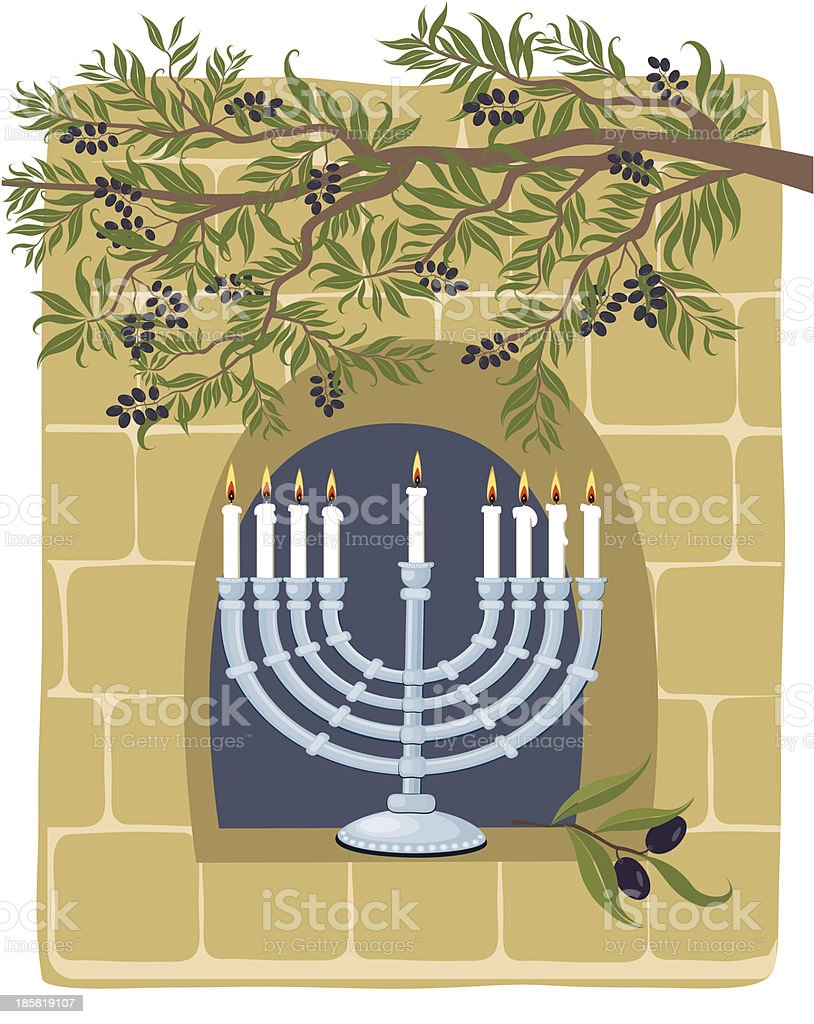 Hanukkah and Menorah On Old Stone Wall Background royalty-free stock vector art
