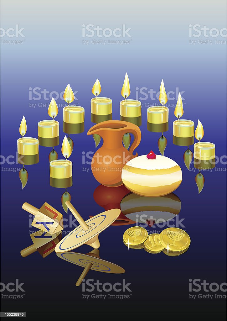 hanukkah background with candles vector art illustration