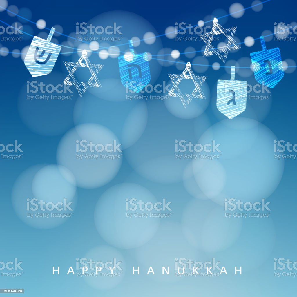 Hanukkah blue background. String of lights, dreidels and jewish stars. vector art illustration