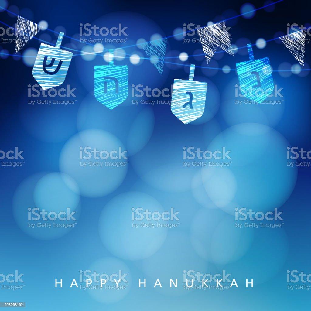 Hanukkah blue background with string of light and dreidels. vector art illustration