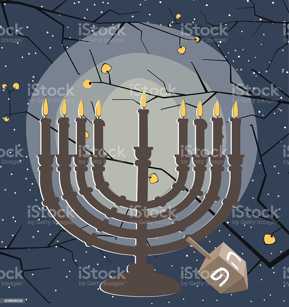 Hanukkah Candlestick with burning candles and dreidel vector art illustration