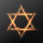 Hanukkah David Star symbol of glitter lights Jewish festival holiday