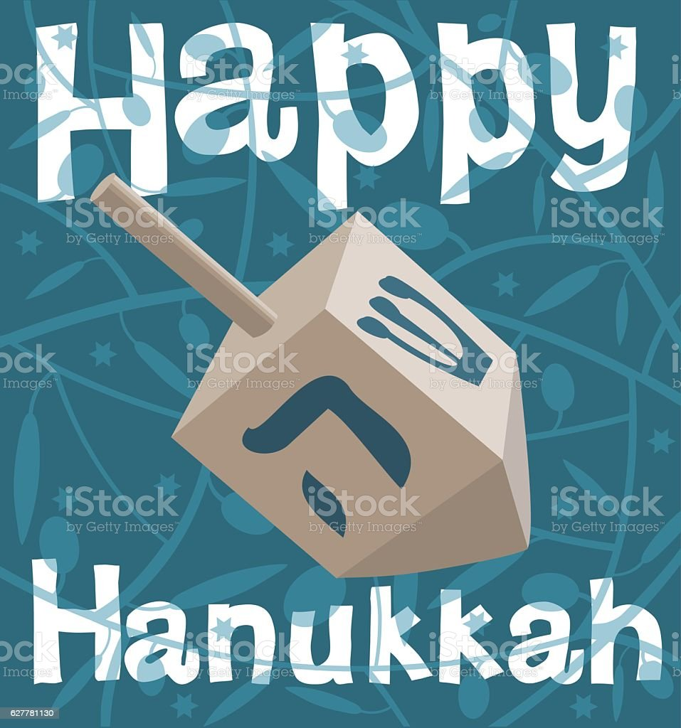 Hanukkah Dreidel On Blue text Happy Hanukkah vector art illustration