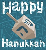 Hanukkah Dreidel On Blue text Happy Hanukkah