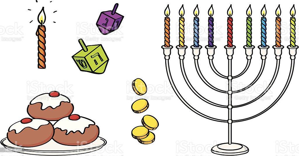 Hanukkah elements vector art illustration