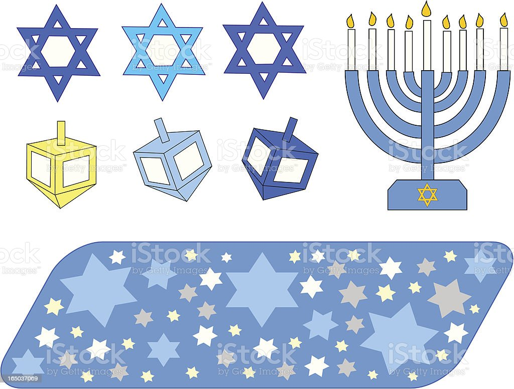Hanukkah Elements - Vector royalty-free stock vector art