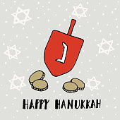 Hanukkah greeting card. Hand drawn dreidle, coins and jewish stars.