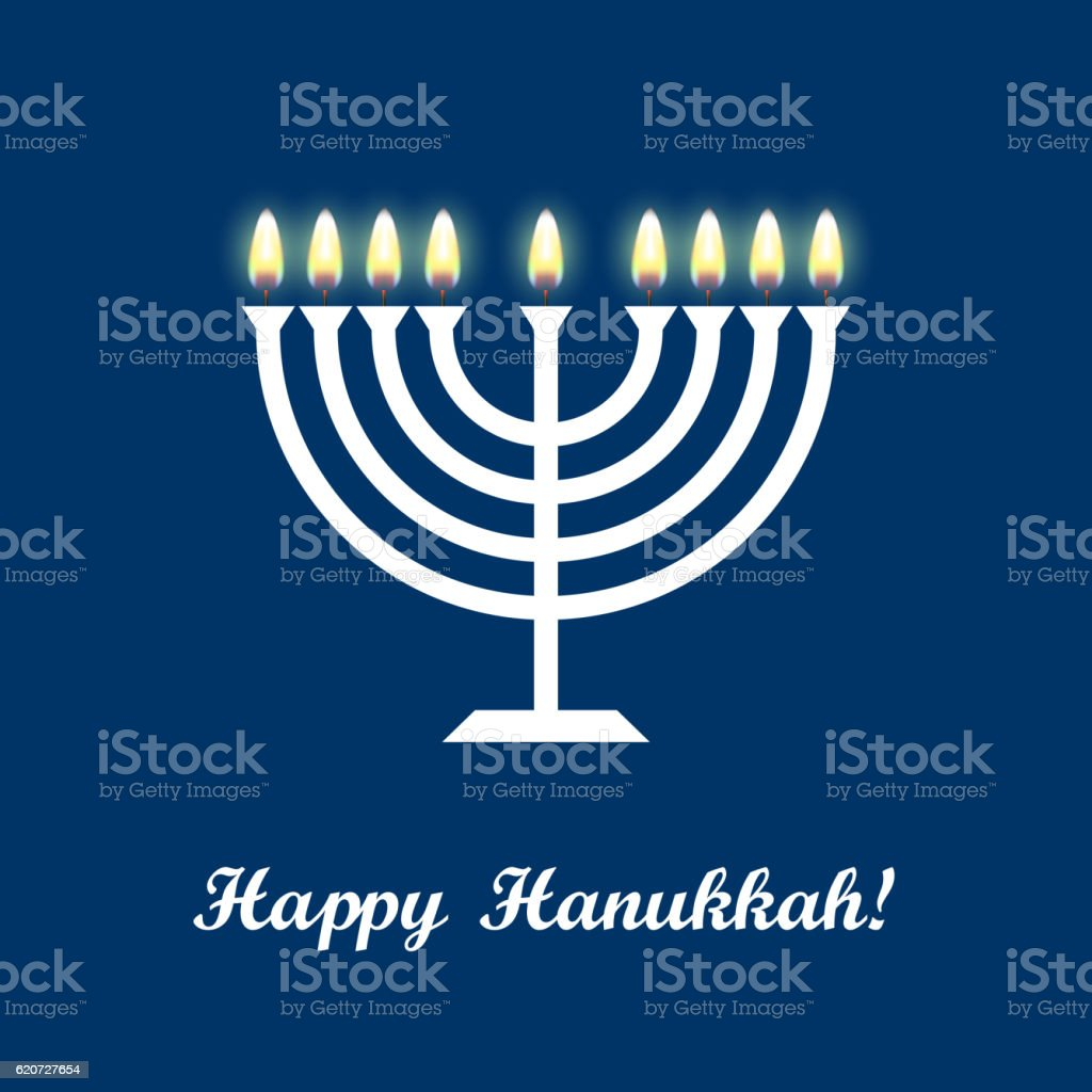 Hanukkah greeting card with candles and menorah. Happy Hanukkah vector art illustration