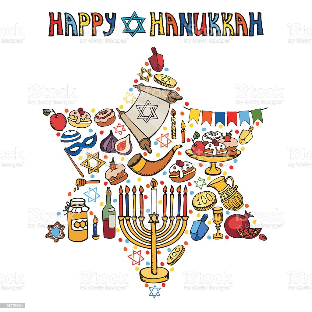 Hanukkah Greeting Cardisrael Symbols In David Stardoodles stock ...