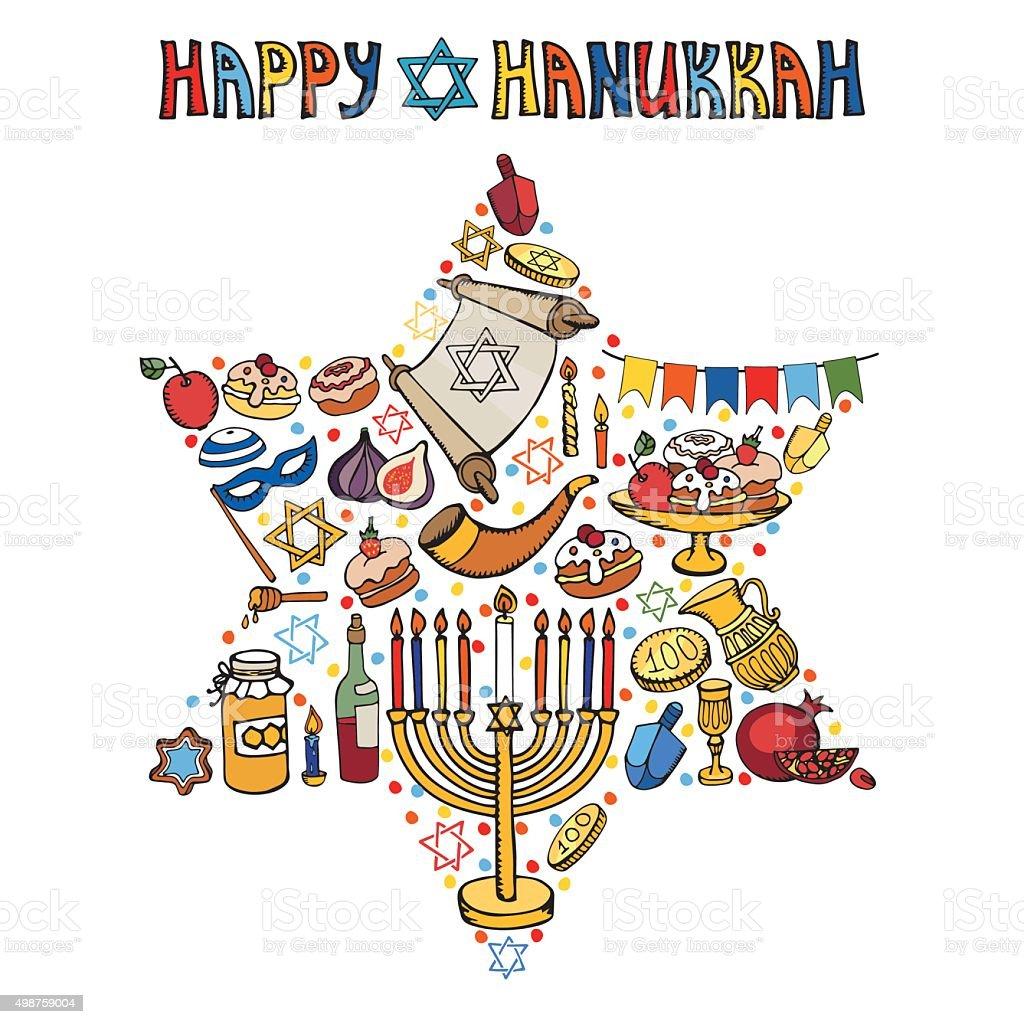 Hanukkah greeting card.Israel symbols in David Star.Doodles vector art illustration