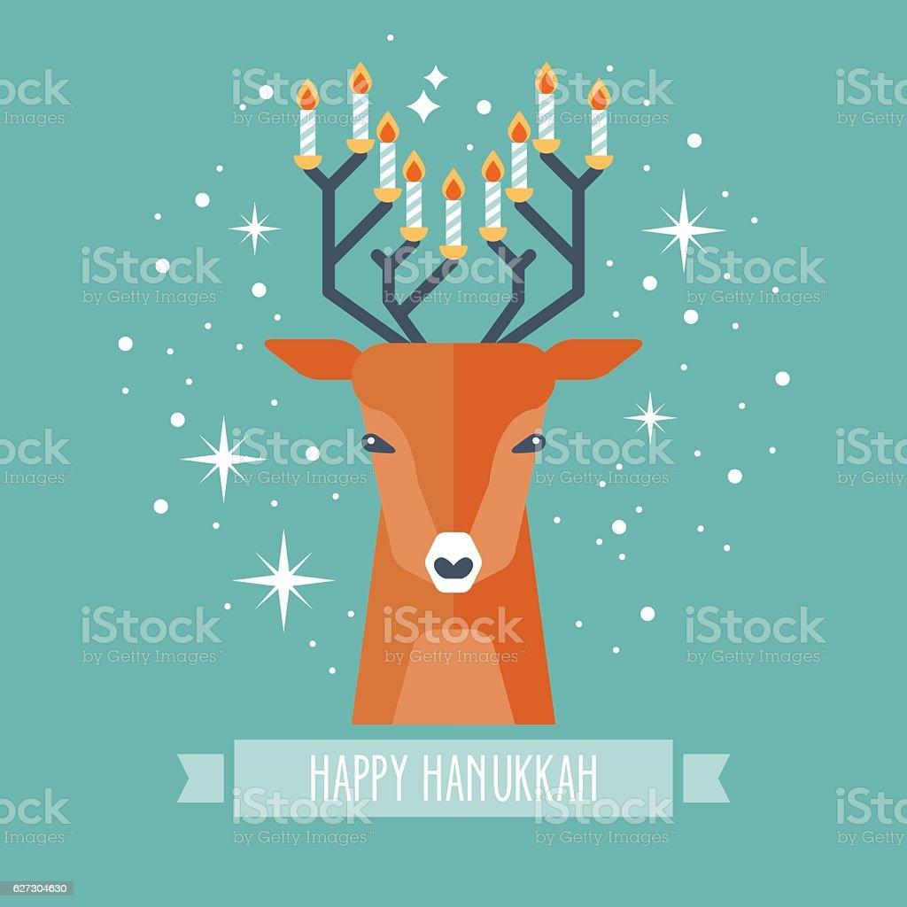 Hanukkah holiday design with deer and menorah vector art illustration