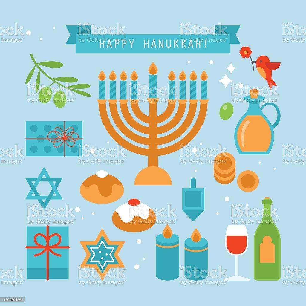 Hanukkah holiday flat stylish icons set. Vector illustration vector art illustration