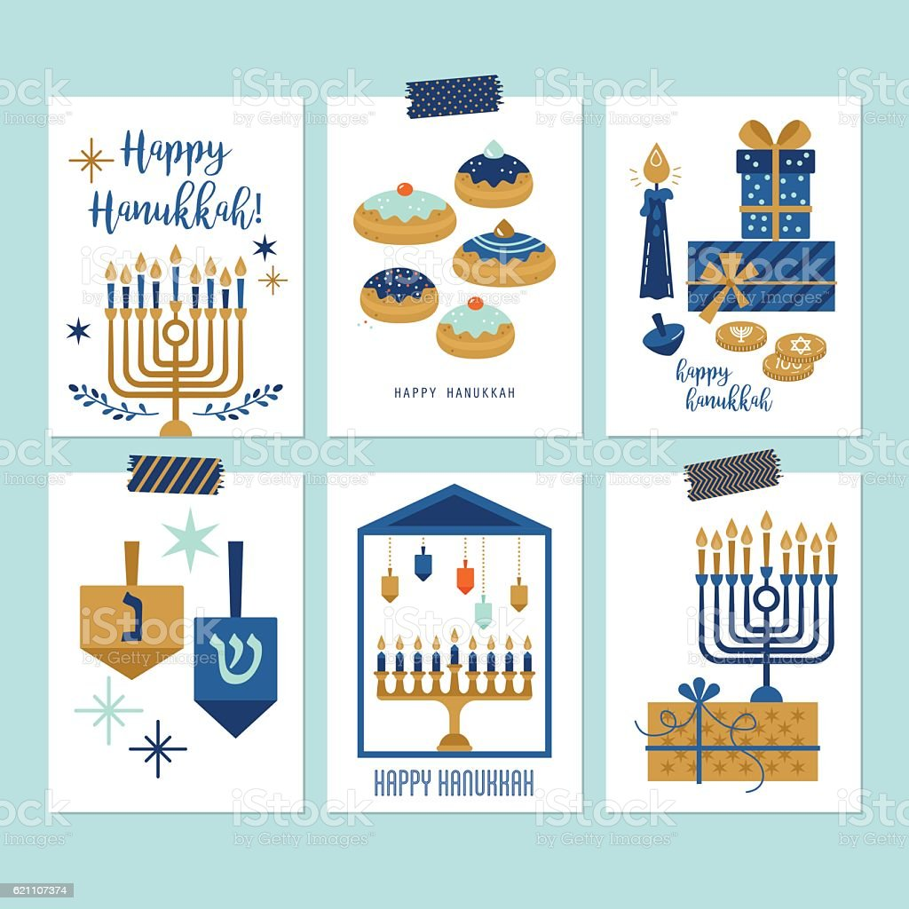 Hanukkah jewish holiday greeting card set design vector art illustration