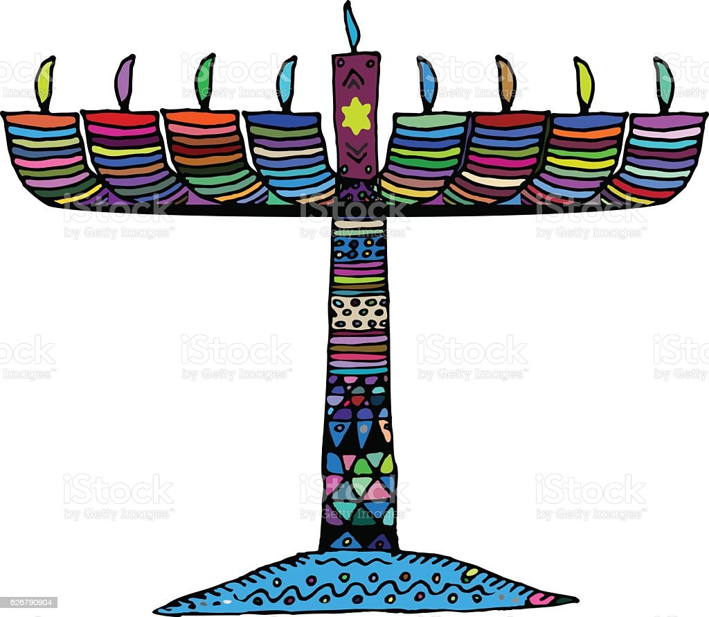 Hanukkah. Jewish religious holiday. Chanukah candle colorful. Multi-colored stained vector art illustration