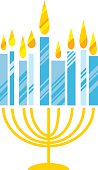 hanukkah menora vector illustration. Juish menora simple vector
