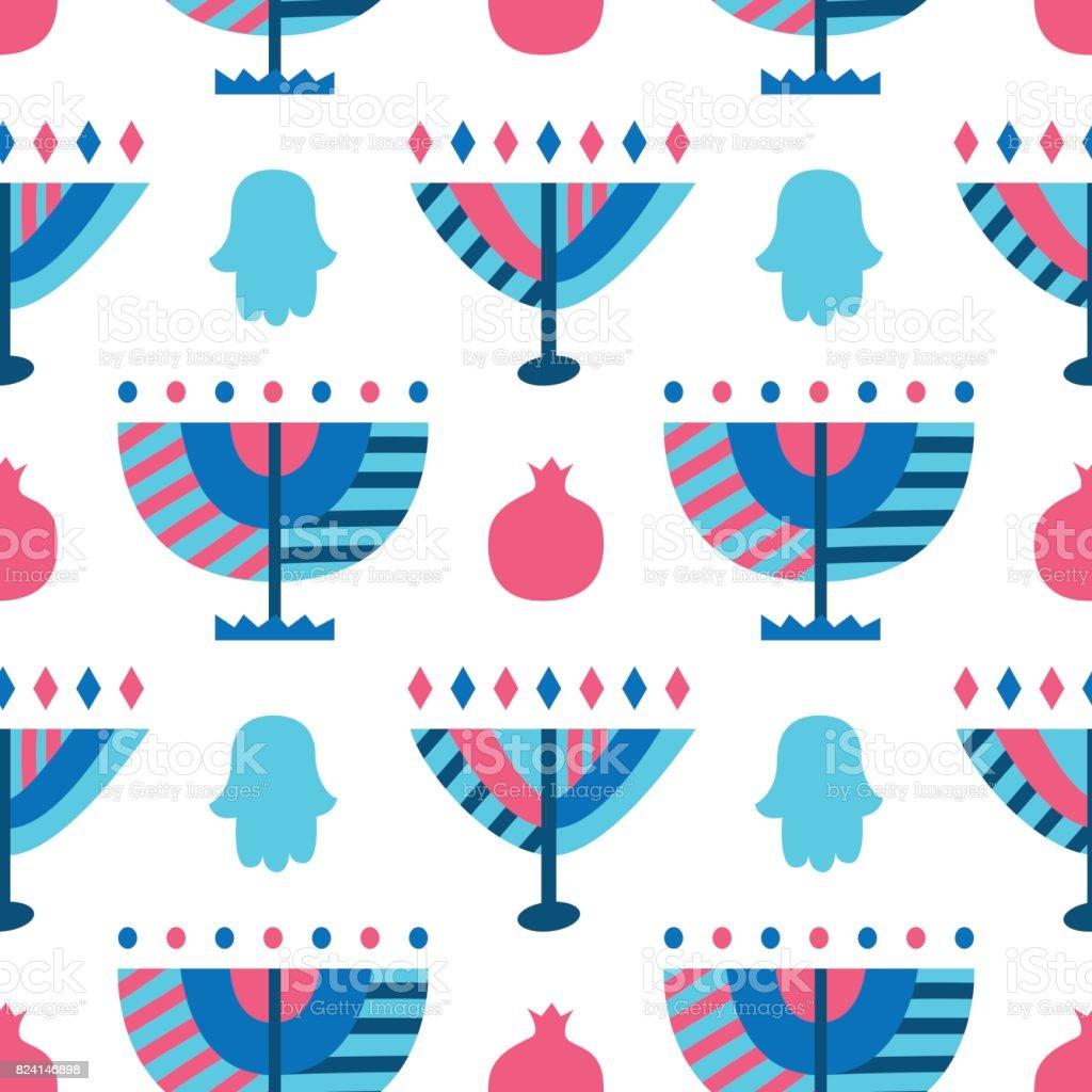 Hanukkah Menorah abstract seamless pattern vector art illustration