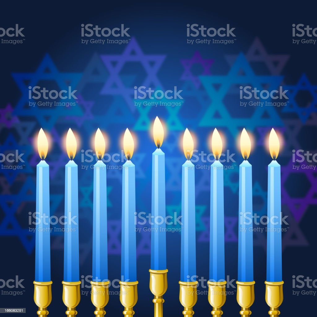 Hanukkah Menorah Candles vector art illustration